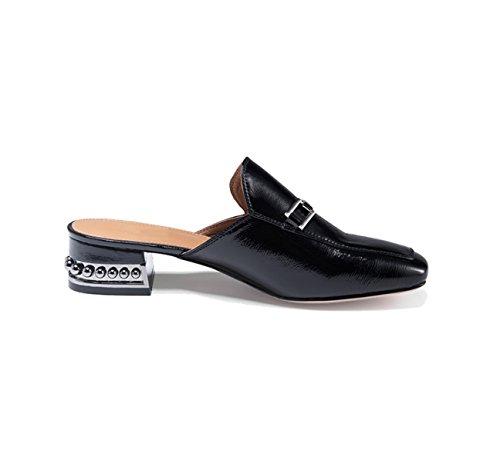 Muller Rugueux Blanc Femme Pantoufles Talons Chaussures En Black De Cuir Sandales MSM4 Noir 0BdxEzz