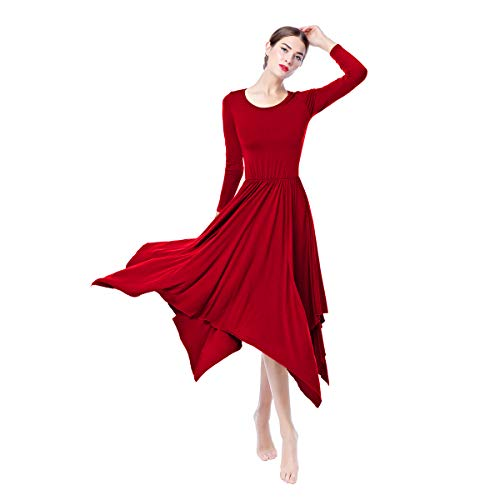 (Womens Celebration of Spirit Long Sleeve Dance Dress Praise Asymmetrical Tunic Dresses Soft Cotton Clothes Long Sleeve O Neck Red)