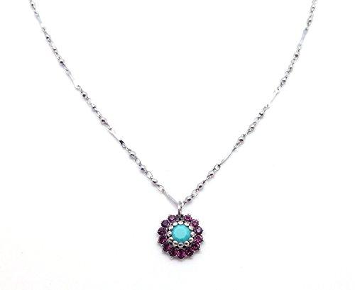 Mariana Swarovski Crystal Silvertone Pendant Necklace Aqua & Purple Flower 1025 Inspire