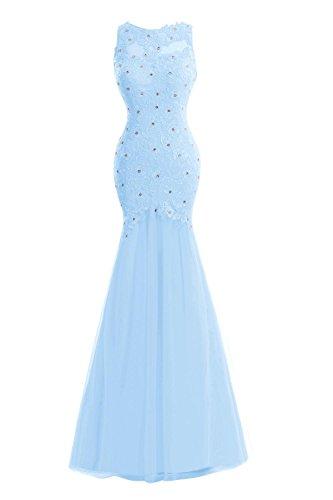 Bess Dentelle De Perles Femmes De Mariée Sirène De Bal En Tulle Bleu Ciel Formel Robes Du Soir