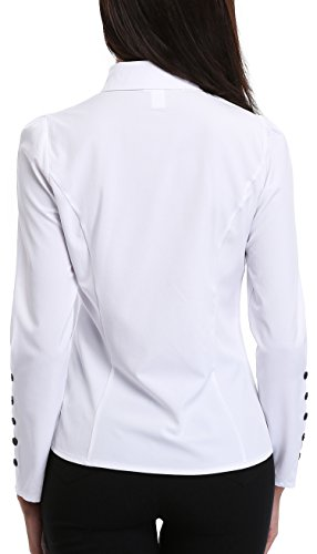 MISS MOLY Women's White Button Down Shirt V Neck Collar Puff Sleeve Office M by MISS MOLY (Image #5)'