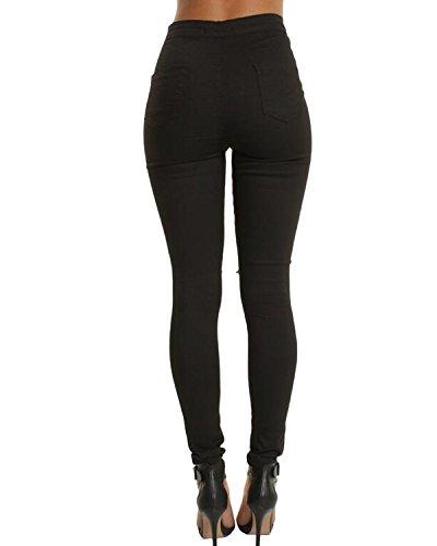 Casual Jeans Denim Donna Legging Auxo Vita Pantaloni 03 Stretchy Sexy Nero Alta A Skinny Pants 8Zafqaw