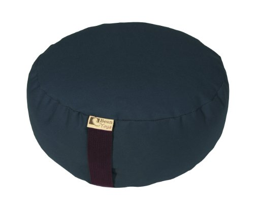 Bean Products NAVY - Oval Zafu Meditation Cushion - Yoga - 10oz Cotton - Organic Buckwheat Fill - Made in USA