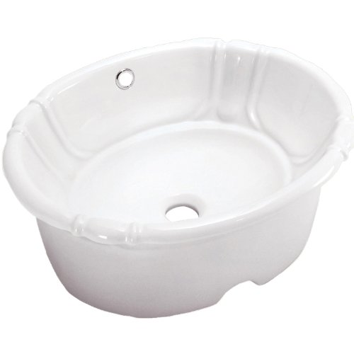 (DECOLAV 1495U-CWH Oval Vitreous China Undermount Lavatory with Overflow, White)