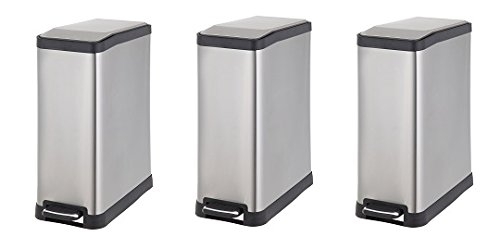 Home Zone HomeZone 45-Liter Stainless Steel Rectangular Step Trash Can (3-Pack)