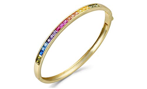 NYC Sterling Cubic Zirconia Women Princess Bangle (Gold-Plated-Brass)