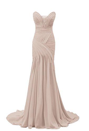 Bridal _ Mall encanto de las mujeres cuentas sirena Vestido de noche beige champán 46