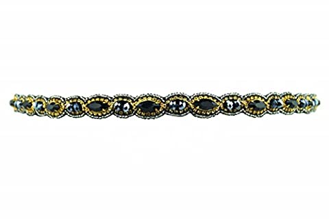 Pink Pewter Beaded Stretch Headband (Tatum Style, Black with Rivets & Gemstones) (Pink Pewter Headband Gold)