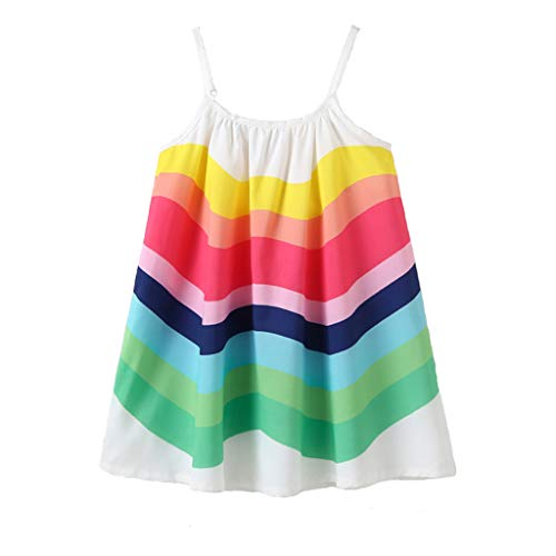 Kid Girl Rainbow Dress Kid Princess Sleeveless Spaghetti Strap Long Maxi Dresses Colorful Little Girls Summer Clothes Outfits (White Rainbow Dress, 4-5 Years) ()
