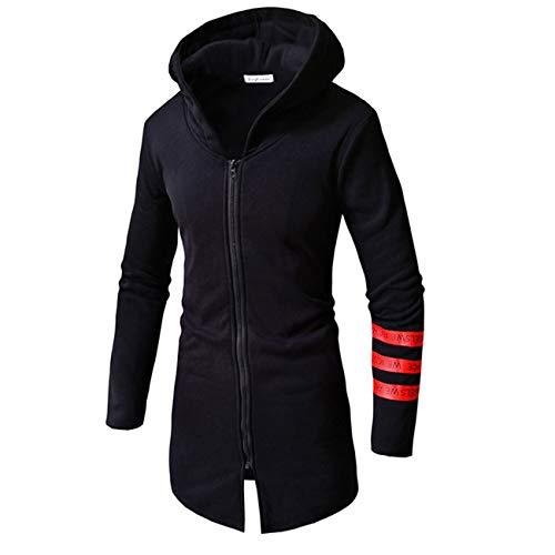Section Cardigan Long Sweatshirt Black Hooded YTY YTY YTY Leisure Men Zipper Zipper Zipper Zipper Knitting qCwwH14P