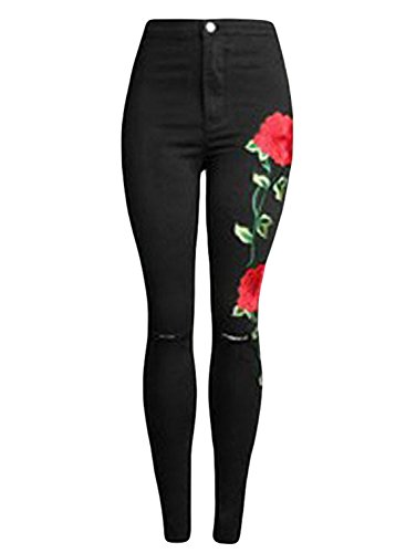 Sidefeel Women Rose Embroidered Distressed Wash Stretchy Skinny Jeans Medium Black Floral by Sidefeel (Image #1)