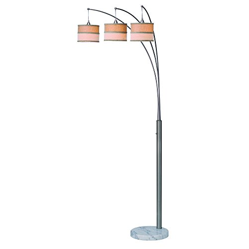 Artiva USA Luca, Modern 86-inch 3-arch Brushed Steel Floor Lamp with Marble Base and Dimmer Switch (Candelabra Light Weighted 3)