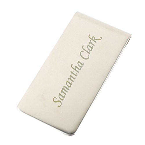 GP Personalized Money Clip Custom Silver Metal Engravable Monogram Money Clip For Men Father's Day Gift ()