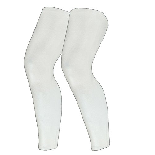 1 Pair Compression Leg Sleeves for Men, Women - Full Length Stretch Long Sleeve with Knee Support, Non-Slip Inner Bands-M(White) ()