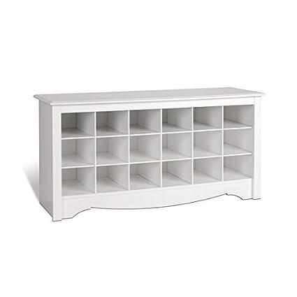 Genial White Oversized Floor Entryway Shoe Storage Organizer Wood Bench Furniture