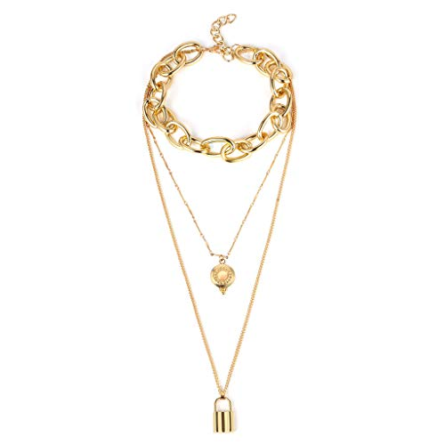 Personality Retro Plate Lock Sweater Chain Ladies Multilayer Necklace Jewelry Collar Choker Pendant By Lmtime(Gold)