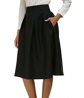 Women High Waist A-line Skater Flared Midi Skirt with Pocket