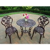 BISTRO SET OUTDOOR PATIO FURNITURE 3 PIECE ROSE PATTERN BROWN ANTIQUE BRONZE FINISH CAST IRON & ALUMINUM by BISTRO'S At The Neighborhood Corner Store