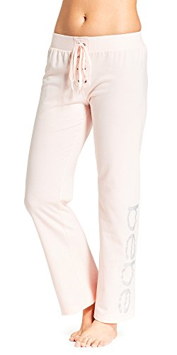 bebe Womens French Terry Elastic Lace Up Waist Pajama Pants Light Pink Medium