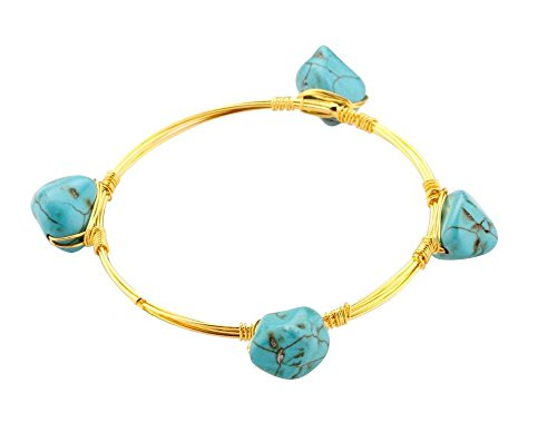 Crystal Bangle Synthetic Turquoise Stones