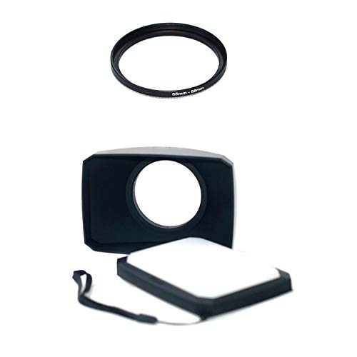 55-58mm Step Up Ring + 58mm 16:9 Wide Angle Lens Hood Compatible for Sony FDR-AX40 FDR-AX53 AX55 Camcorder Camera