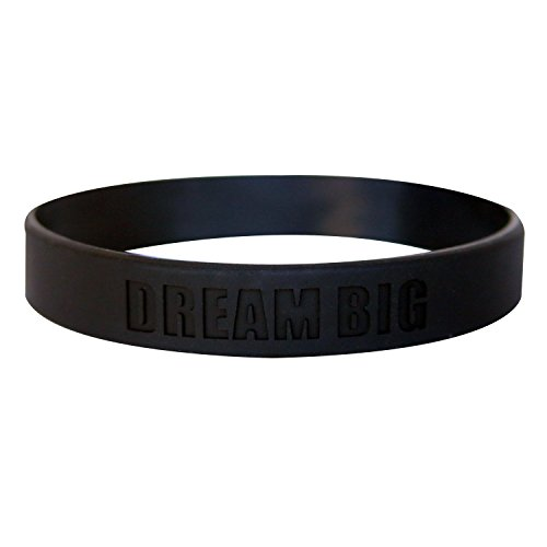 Work Hard Dream Big Motivational Silicone Wristbands Custom Embossed Quote. Rubber bands for Fitness, Workouts, Crossfit, Basketball, Lifting - Includes 1 Black Wristband