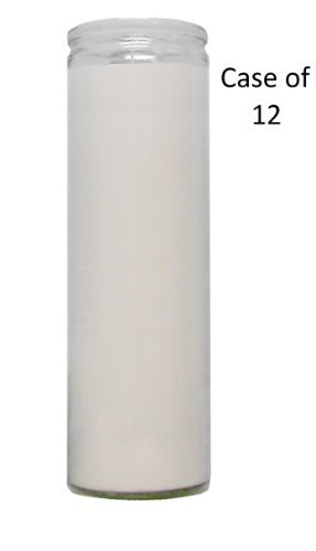 Glass Assorted Religious Candle, White, Case of 12 (1) by Brilux
