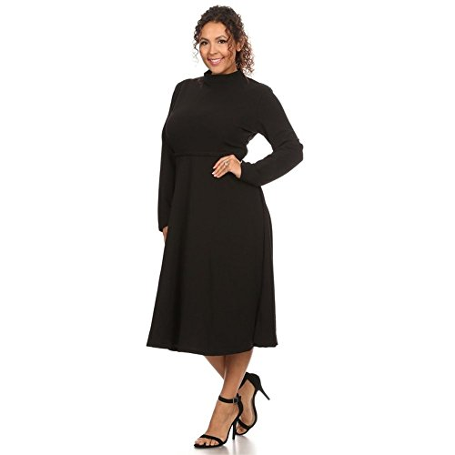 Long Short in Sleeve USA Fit Made Plus Dresses Black Summer Flare Womens Size Sleeve EfWPcTTq