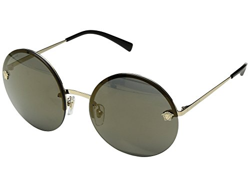 Versace Women's VE2176 Pale Gold/Dark Grey Mirror Light Gold One - Versace Womens