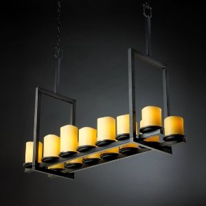 (Justice Design CNDL-8764-10-AMBR-MBLK-GU24 Dakota 14-Light Bridge Chandelier (Tall), Glass Options: AMBR: Amber Glass Shade, Choose Finish: Matte Black Finish, Choose Lamping Option: GU24 Fluorescent Non-Dimming)