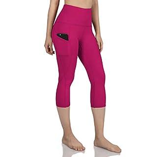ODODOS Women's High Waist Yoga Capris with Pockets,Tummy Control,Workout Capris Running 4 Way Stretch Yoga Leggings with Pockets,Fuchsia,Small