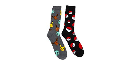 Pokemon-Heads-Crew-Socks-2pk-Teen-Adult-Pikachu-Squirtle-10-13