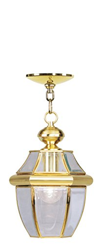 Livex Lighting 2152-02 Monterey 1-Light Outdoor Hanging Lantern, Polished Brass
