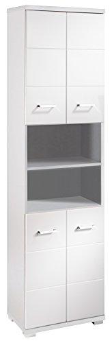 Homexperts Badezimmer Hochschrank NUSA 50 cm breit / Eleganter Badschrank  mit Hochglanz Weiß lackierter Front / 4-türiger Badezimmerschrank mit ...