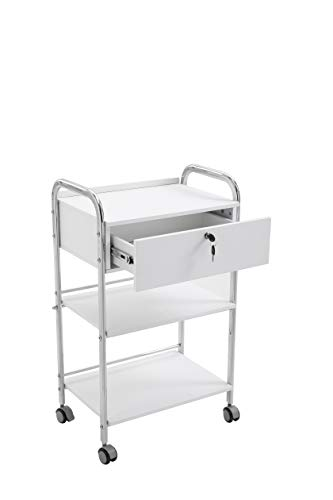 Salon trolley HomelyD white color,sturdy chromed frame spa trolley with one drawer