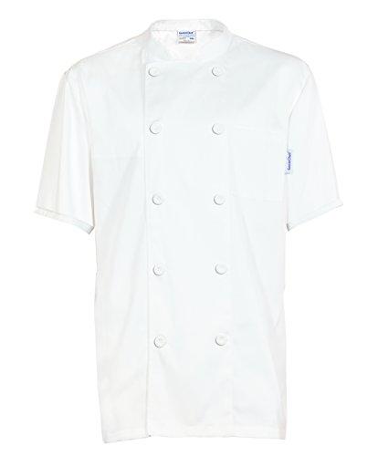 GenieChef Men's Short Sleeve Classic Chef Coat XXXX-L White by GenieChef