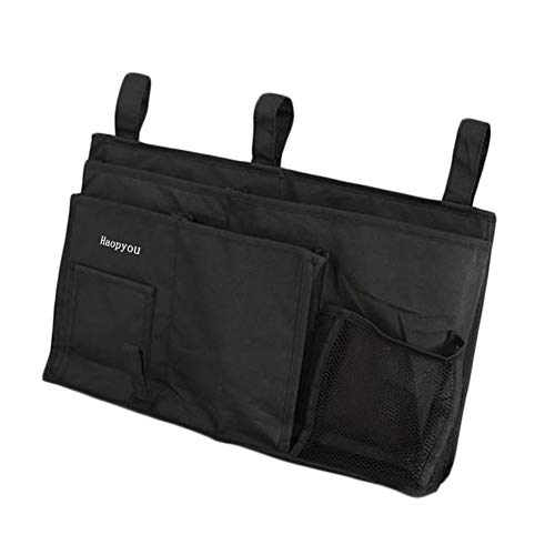 MoYag Bedside Storage Organizer, Bedside Caddy Hanging Storage Bag for Bunk and Hospital Beds, Dorm Rooms Bed Rails,Baby Bed,Baby Cart,Car Backrest with 8 Pockets(Black)
