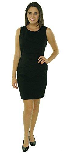 Calvin Klein Seamed Sleeveless Womens Petite Sheath Dress Black 10P