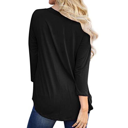 Manica Maglietta shirt Kword Camicetta Donne Eleganti Solido Nero Casual T Collo Camicia Lunga Top Cavo Arruffato Pieghe Tqvqwxd