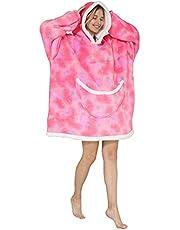 SZCMSM Oversized Hoodie Blanket Sweatshirt,Wearable Blanket for Adult Women Men Soft Warm Comfortable Sherpa TV-Blanket