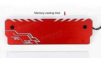 PANGUN RGB Color Retroiluminada Aluminio Magnesio Aleación Memoria Disipador Térmico con Abrazadera De Refrigeración-Rojo