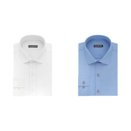 (Kenneth Cole Unlisted Men's Solid Dress Shirt, White/Light Blue, 16