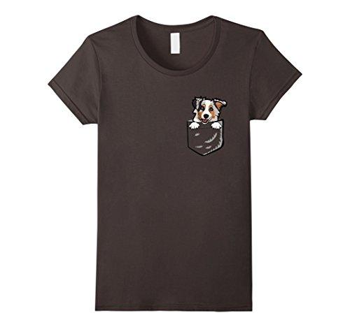 Womens Adorable Little Australian Shepherd In The Pocket T-shirt Small Asphalt