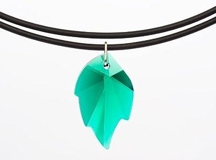 gogoritas Collar Universal con un Colgante Original de Swarovski Elements Hoja (Emerald), Cinta de Cuero Negro (PR55)