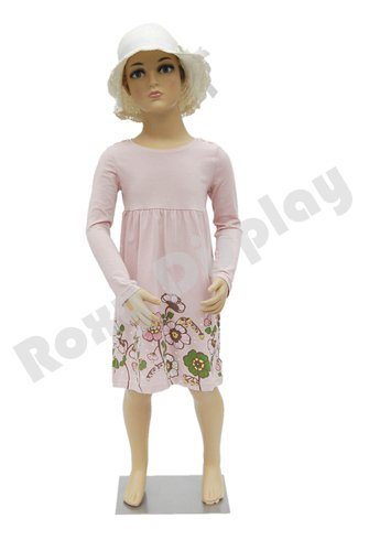 (PS-KD-5+WG-M10-30A) ROXYDISPLAY™ Plastic Child Mannequin. 5 Years old, standing pose. Turnable arms with One free Wig by ROXYDISPLAY™