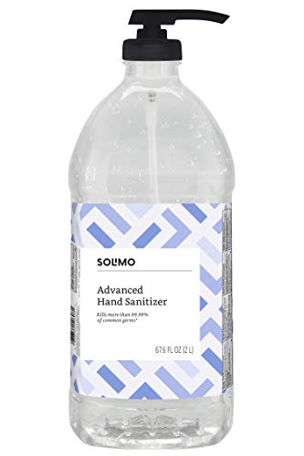 Amazon Brand - Solimo Advanced Hand Sanitizer with Vitamin E, Original Scent, Pump Bottle, 67.59 Fluid Ounce ()