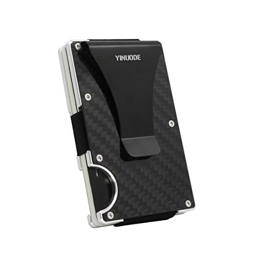 Aluminum Alloy Frame - Carbon Fiber Money Clip Minimalist Front Pocket Wallet Minimalist Wallet RFID Blocking With Aluminum Alloy Frame