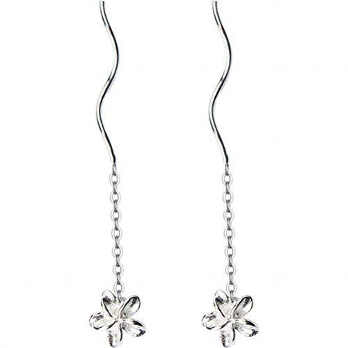 WOZUIMEI Earring Dangler Eardrop Stud Earring S925 Silver Egg Flower Ear Wire Female Five Petals Short Eardrops Plain Flower Earrings Ear Jewelry for Women, 925 Silver d