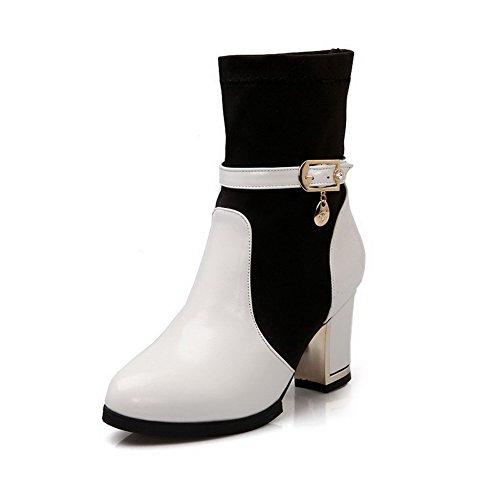 Allhqfashion Dames Pull-on Ronde Gesloten Neus Hoge Hakken Blend Materialen Lage Laarzen Wit