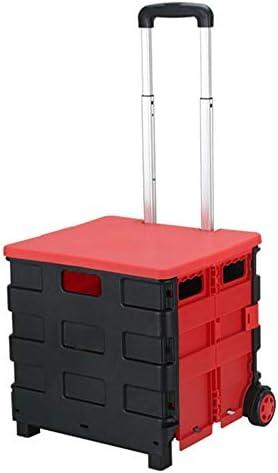 ZR Multifunktionsklappdoppelrad mit Abdeckung (kann sitzen) Einkaufswagen, tragbarer Leichter Aluminiumlegierungshebel, manuelles Nutzfahrzeug (M, L) (Size : M)